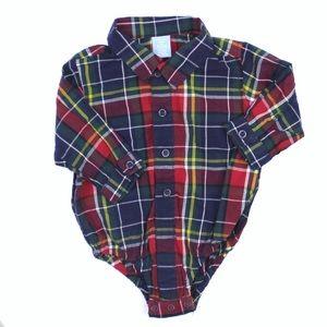Infant Boys Plaid Shirt Bodysuit (NWT)